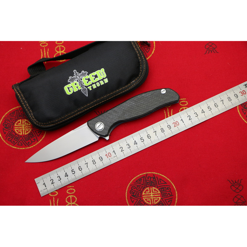 New Green thorn hati 95 Flipper folding knife D2 steel bearing titanium CF 3D handle camping
