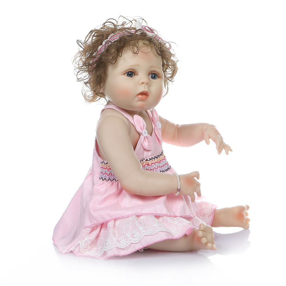 real Reborn Baby Dolls Bebe girl Reborn Realistic Curly hair princess bonecas 55cm with baby Clothes fashion children Toy gift in Dolls from Toys Hobbies