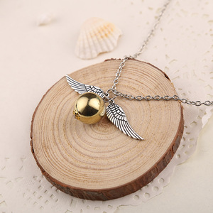 Image 4 - 24 Pcs/Lot Magician School Angel Wings The Seeker Charm Quidditch Golden Snitch Pendent Necklace Jewelry Bulk Wholesale