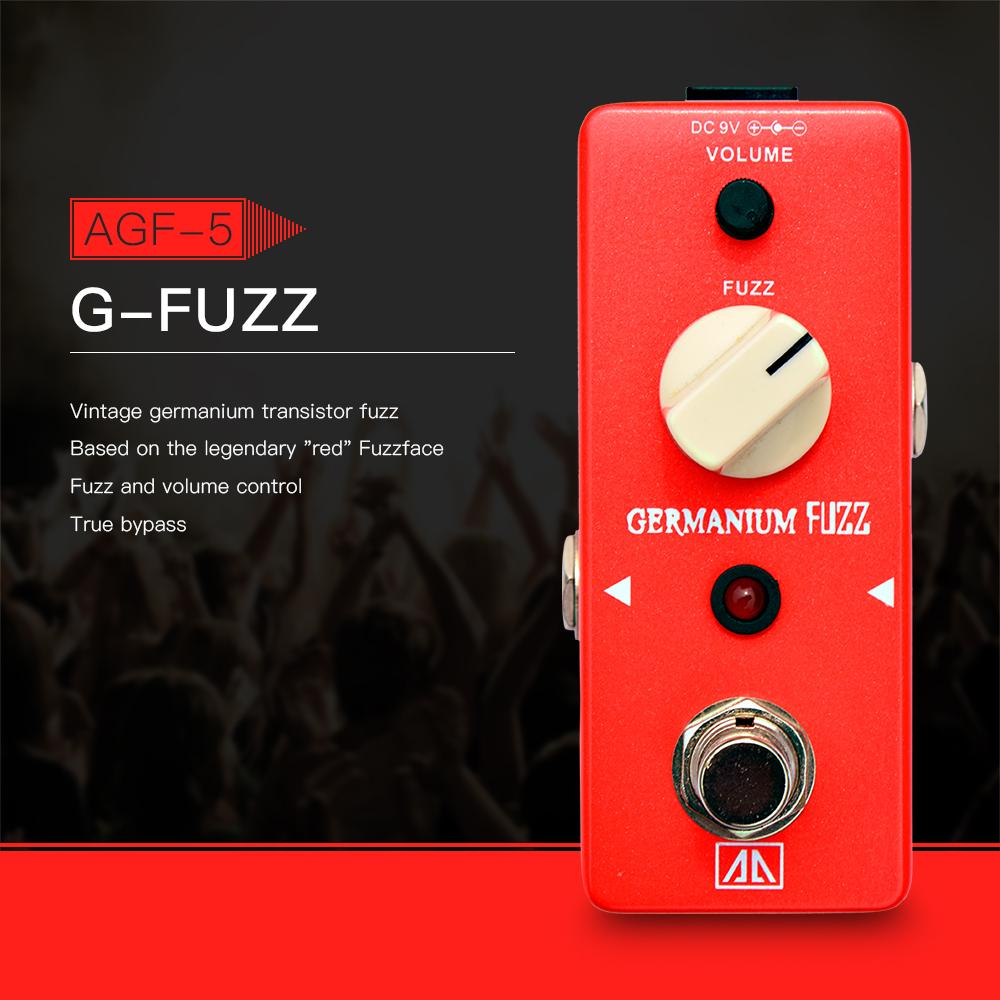AROMA AGF-5 Classic Germanium Transistor Fuzz Guitar Effect Pedal Aluminum Alloy Body True Bypass Base on red Fuzzface aroma adl 1 true bypass delay electric guitar effect pedal high quality aluminum alloy guitar accessories delay range 50 400ms