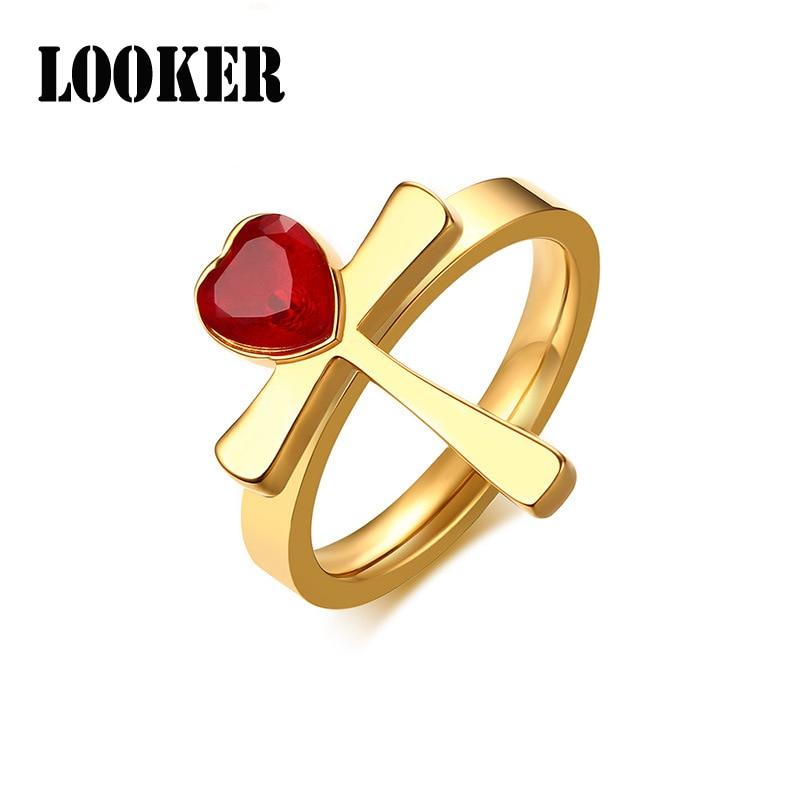 New Design Women's Ring Inlaid Love Red Rhinestone Anka Cross Ring Stainless Steel Jewelry Ladies Girl Gifts