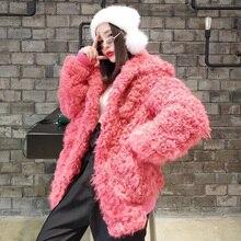 natural Karakul Sheep Fur coat 2018 new fashion winter pink real fur coat women leather jacket plus size streetwear overcoat free shipping 2014 genuine leather down coat women medium long paragraph sheep fur plus size winter leather overcoat m 5xl