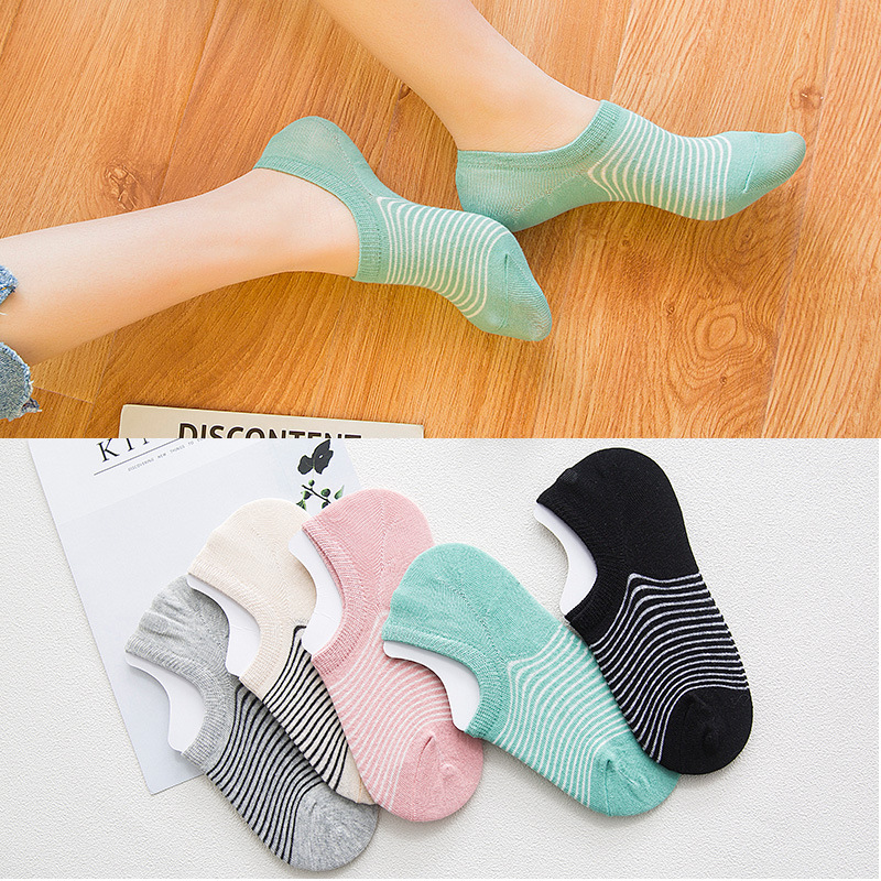 New women's spring and summer cotton invisible socks women's socks and fine stripes invisible socks factory direct 535