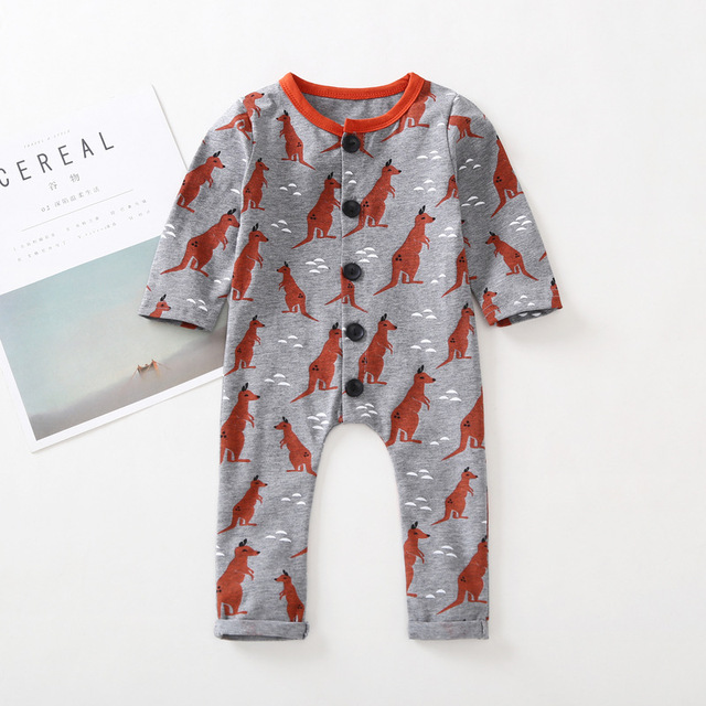62a7ed99ec8f One piece Baby Girl Boy Romper Outfit cute kids O-Neck Kangaroo print  Single Breasted Jumpsuit children Climb clothes 0-2T