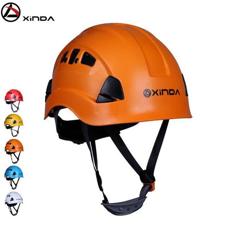 XINDA Outdoor Downhill Climbing Helmets Riding Mountaineering Tunnel Cable Drop Rescue Helmet Drifting Protection xinda professional half body safety belt harnesses for rock climbing outdoor expand training aerial protective supplies