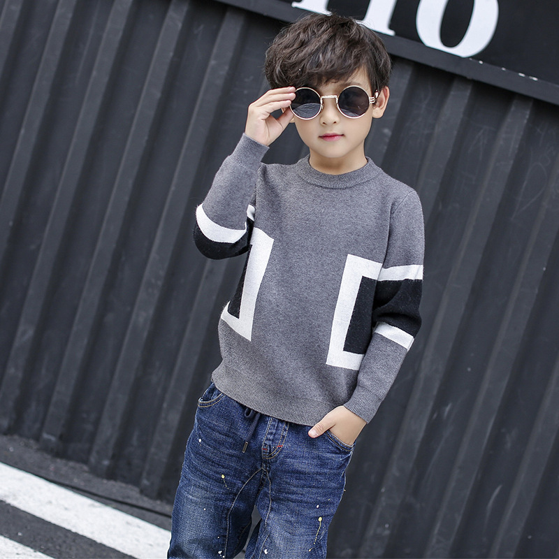все цены на Teenager Children Baby Boys Sweater 2017 Kid Knitted Pullover Long Sleeves O neck Warm Outerwear Boys Sweater Clothing 5-16Y