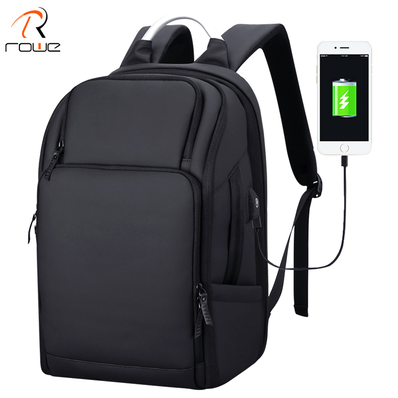 ROWE Business Men's Backpack Black USB Charging Anti Theft Laptop Backpack 17 Inch Male Large Capacity Fashion Travel Backpacks