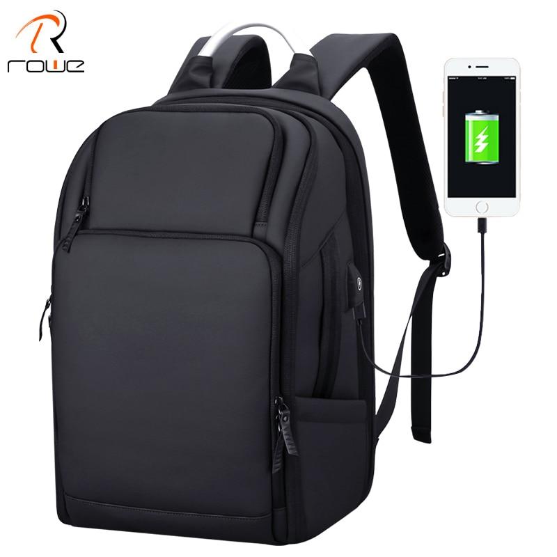 Sac à dos pour hommes d'affaires ROWE noir USB chargeur Anti-vol sac à dos pour ordinateur portable 17 pouces homme grande capacité mode voyage sacs à dos