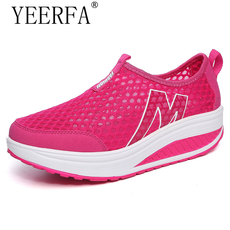 YEERFA New casual shoes woman low top height increasing slimming swing shoes summer breathable air mesh platform walking shoes height increasing swing shoes 2015 women breathable air mesh casual shoes woman summer slip on platform wedge walking shoes