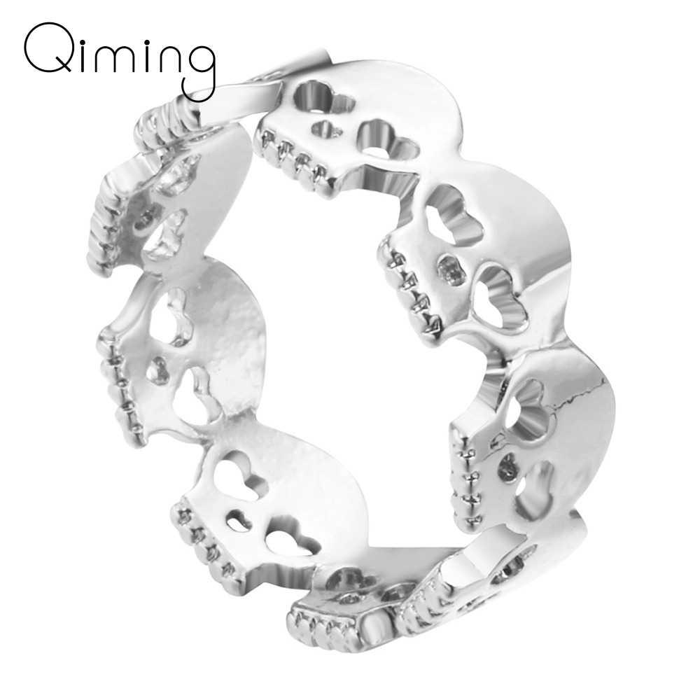 Punk szkielet czaszki pierścień dla kobiet mężczyzn kobiet dziewczyny fajne w stylu Vintage srebrny złoty moda pierścionki Boho Chic biżuteria prezent urodzinowy