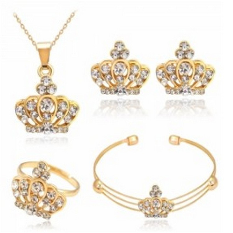 New Fashion European & American Crown Crystal Jewelry Sets for Women Chain Necklace/Earrings/Ring/Bracelet Bridal Wedding Gift