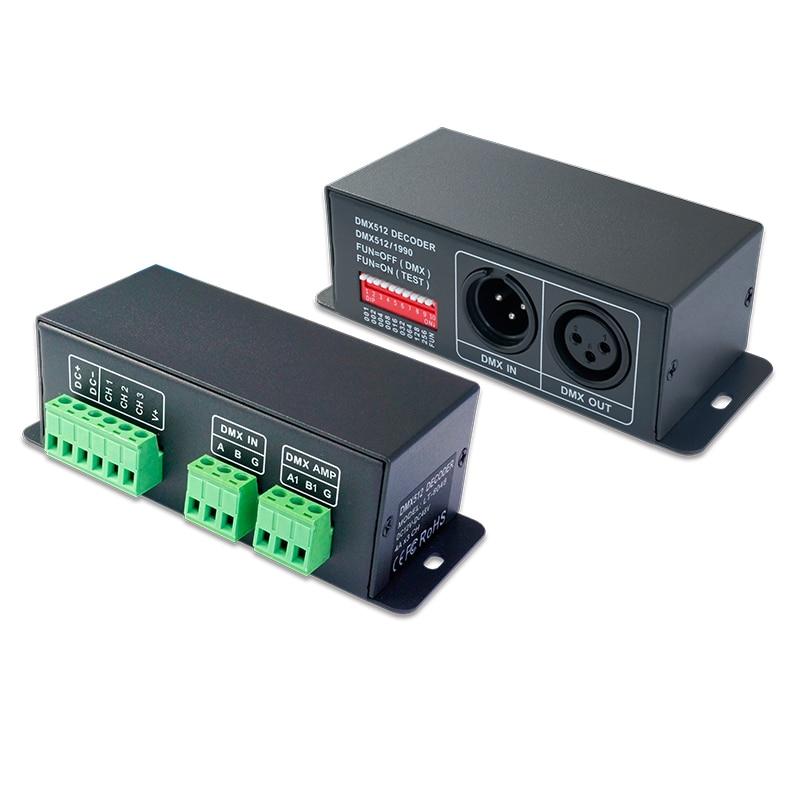 New LTECH LED DMX Decoder;DC12-48V in 4A*3CH Max 12A XLR-3 Green terminal 0-100% Dimming Range 3CH CV RGB Strip CV DMX decoder стоимость