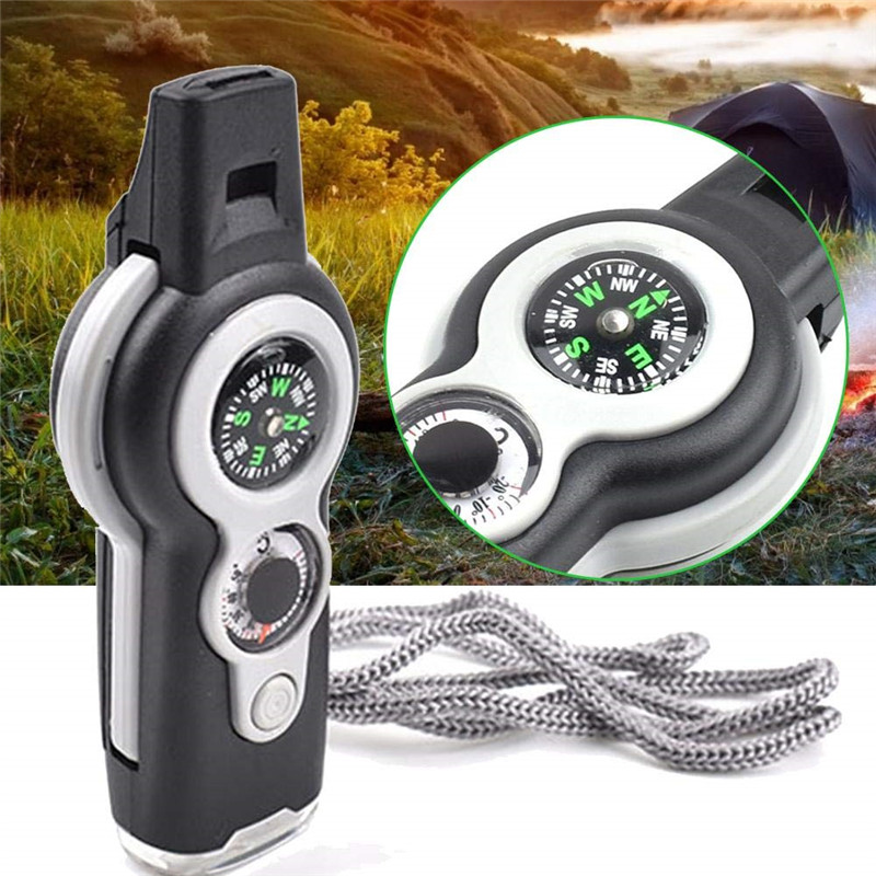 7 In 1 Multi-Function Survival Tool Whistle Compass Thermometer LED Light Mirror Magnifier Emergency Rescue Outdoor Camping Tool