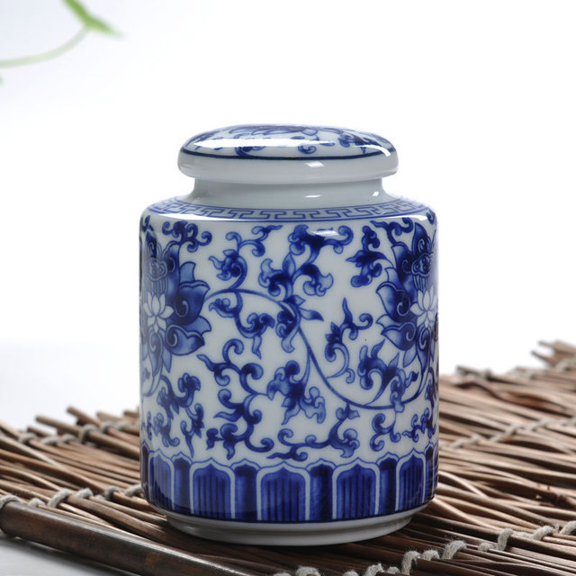 Free Shipping Blue And White Sets Ceramic Tea Caddy Box Zero Accessories