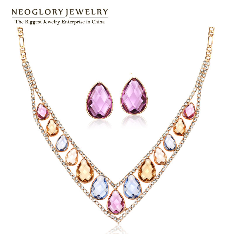 Neoglory Earrings Jewelry-Sets Necklaces Crystal Rhinestones Rose-Gold-Color Women Fashion
