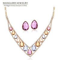 Neoglory Colorful Crystal Rhinestone Rose Gold Plated Fashion V Style Jewelry Set 2015 New For Women
