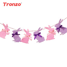 Tronzo 3M Cute Easter Bunny Garland Children Favors Pink Purple Rabbits Cloth Banner Happy Birthday Party Decorations Home