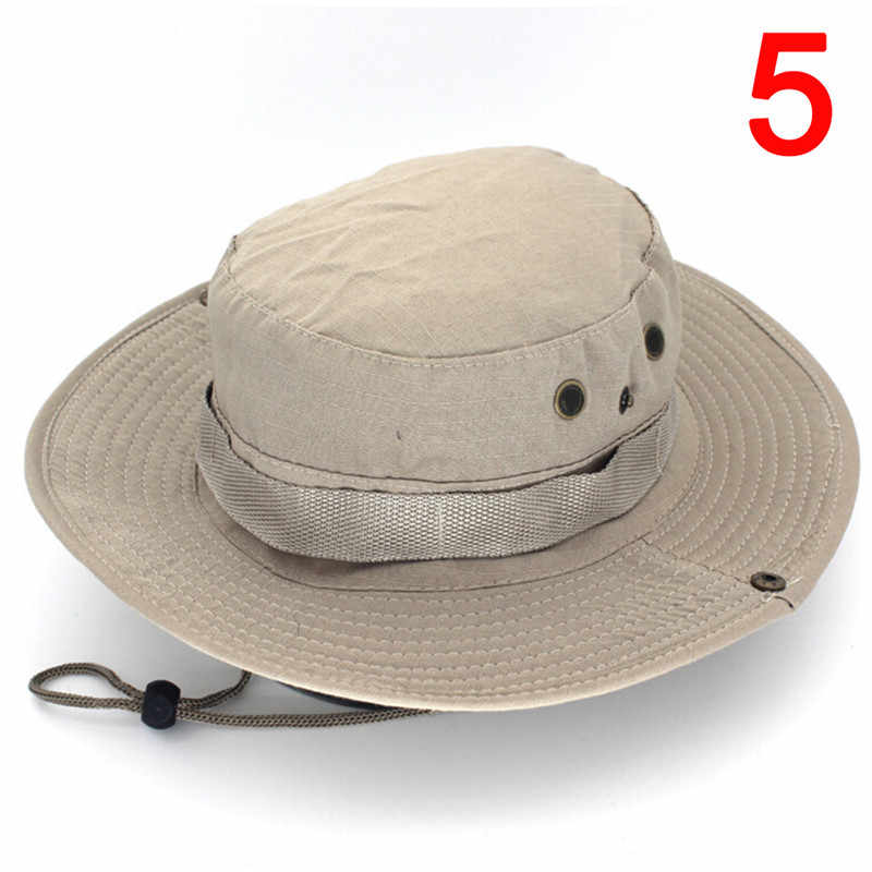 33b199d5 ... Outdoor Canvas Cap Military Panama Safari Boonie Sun Hats Summer Men  Women Camouflage Bucket Hat With