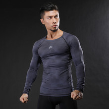 2017 New Mens Fitness Long Sleeves  T Shirt Men Bodybuilding Skin Tight Thermal Compression Shirts MMA Crossfit Workout Top