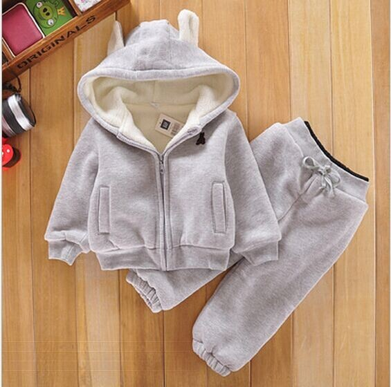 BINIDUCKLING Baby Sports Suit Jacket Sweater Coat+Pants Thicken Kids Clothes Set Hot Sell Boys Girls Children Winter Wool Sherpa 2016 new suit boys clothes brand winter sweater for kids 3 13 year with m word three piece set boys vest pants coat a 26145