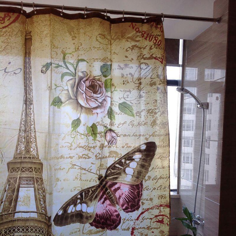 Bathroom Waterproof Mildewproof Polyester Eiffel Tower Butterfly Flower  Postmark Shower Curtain With 12 Hooks(China