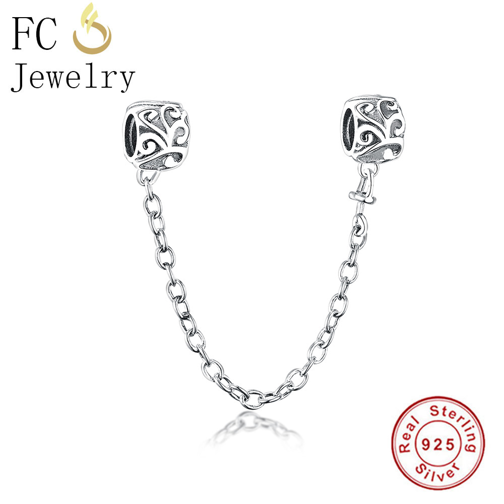 FC Jewelry Fits Original Pandora Charms Bracelets 925 Silver Vine Plant Love Safety Chain Lock Beads for Making Berloque DIY