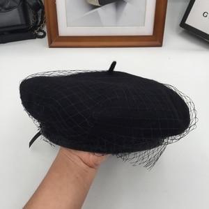 Image 1 - Béret pour femmes avec gaze et filets sur la période de printemps et dautomne, chapeau de peintre
