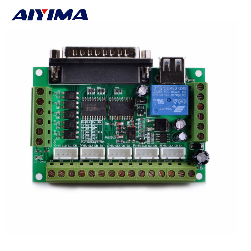 Подробнее о AIYIMA Mach3 Engraving Machine CNC Controller Interface Board 5 Axis Breakout For Stepper Motor Driver Cable Optocoupler 1pcs mach3 engraving machine 5 axis cnc breakout board with optical coupler for stepper motor driver interface board usb cable