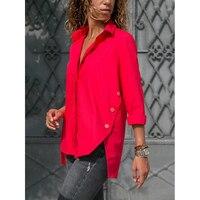 Нерегулярные кнопку с длинным рукавом Шифоновая блузка Для женщин с отложным воротником туника рубашка Осенние женские блузки Плюс Размер...