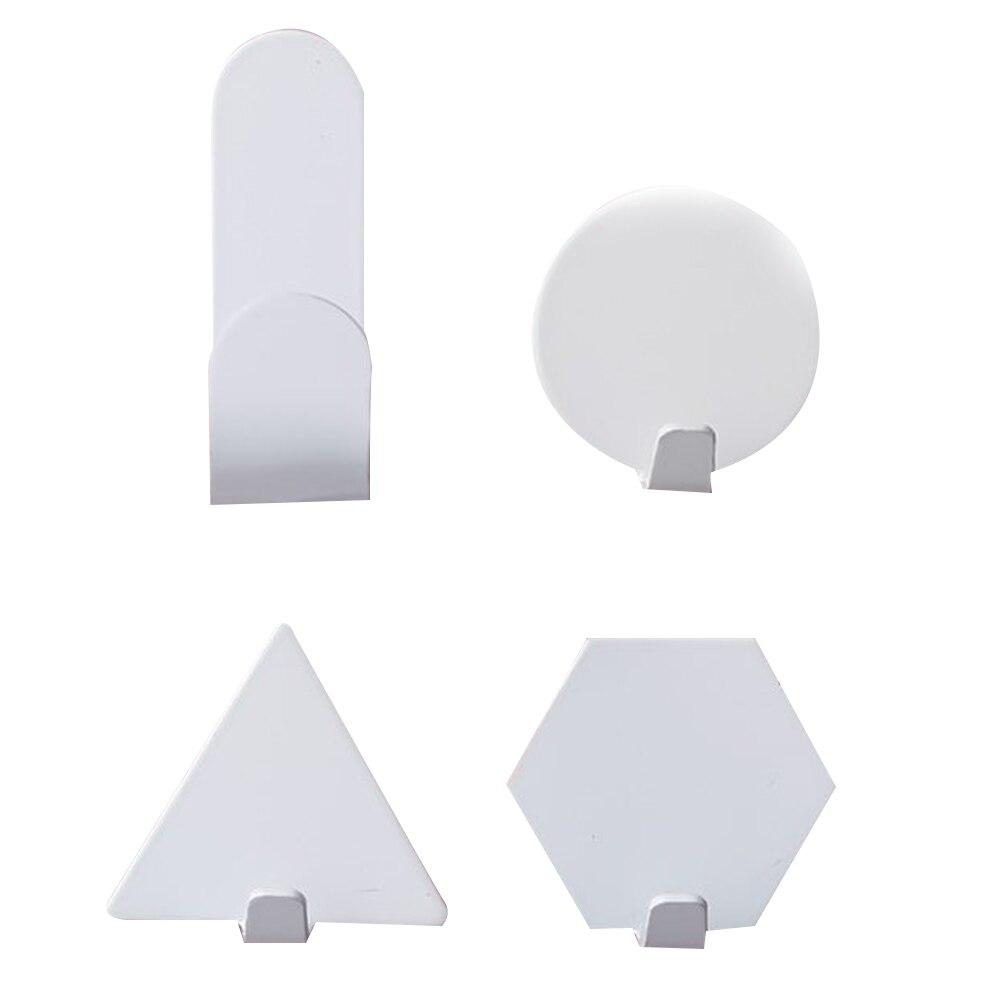 Goedkope Verkoop Geometrische Vorm Metalen Wand Haak Hangen Haken 4 Stuks Zelf Kleverige Naadloze Haak Muur Mount Thuis Witte