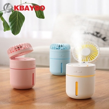KBAYBO  USB Fan with 400ML Air Diffuser Small Cooling Aroma Essential Oil Portable Desktop Humidifier