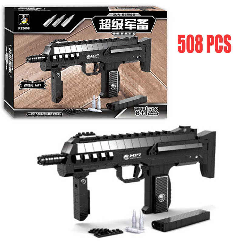 Submachine Gun Model Building Blocks 508pcs Bricks Educational Toys Kits DIY Mechanical Lovers ABS Particle Block 1 1 508pcs mp7 submachine assault gun weapon swat arms model 3d diy building blocks bricks kids toy gift compatiable with lego