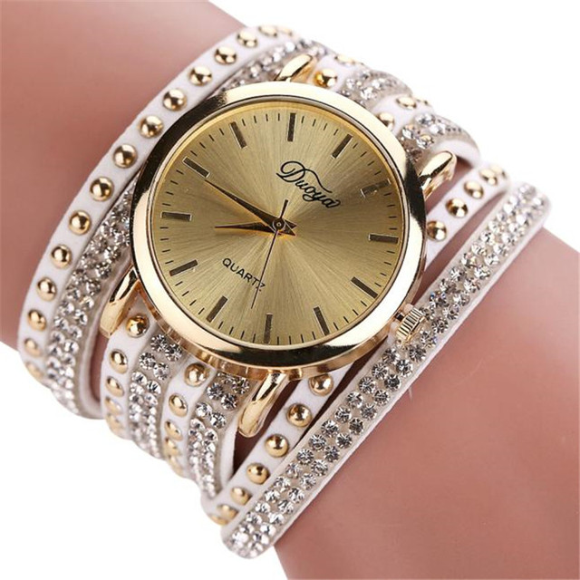 Duoya Women Fashion Bracelet Watch Leather Strap Wristwatch Diamond Ladies Dress