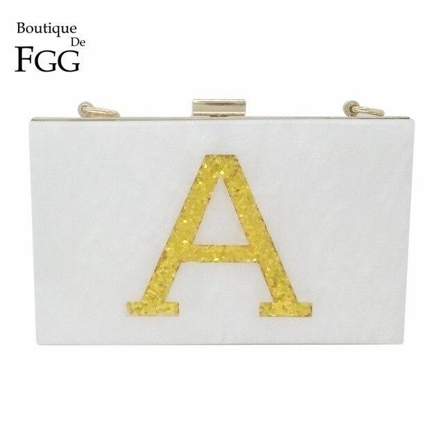 Women Famous Brand Letters A\E\Y\HB Patchwork Acrylic Evening Clutch Bag Dinner Banquet Shoulder Handbags Purses Metal Clutches