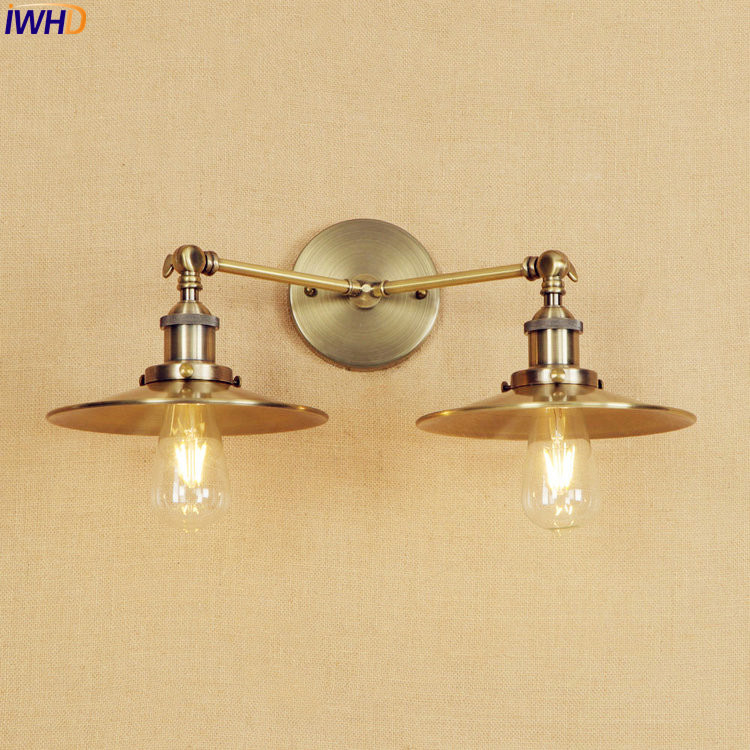 IWHD Antique Brass Wall Lamp Vintage LED Edison Lighting 2 Heads Bathroom Stair Lights Lampen Arm Industrial Wall Light Sconce free shipping brass finished e27 industrial edison wall lamp antique copper vintage beside lighting ac90 250v for bedroom