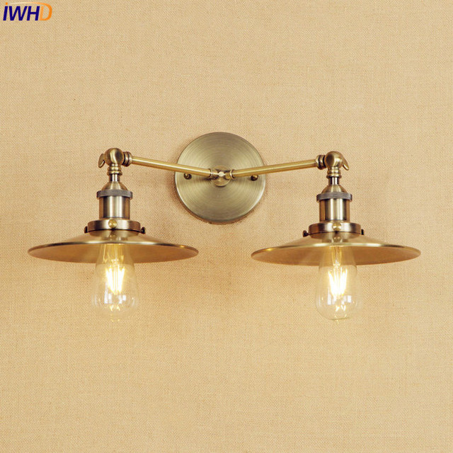 Iwhd antique brass wall lamp vintage led edison lighting 2 heads iwhd antique brass wall lamp vintage led edison lighting 2 heads bathroom stair lights lampen arm aloadofball Images