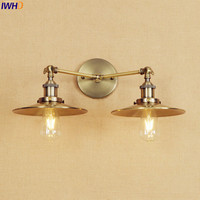 IWHD Antique Brass Wall Lamp Vintage LED Edison Lighting 2 Heads Bathroom Stair Lights Lampen Arm Industrial Wall Light Sconce