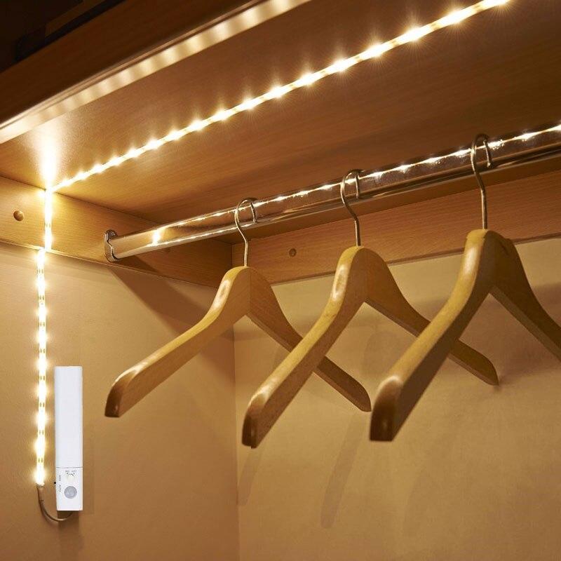 30 Leds PIR Bewegungsmelder Nachtlicht 1 Mt Led-streifen automatische Abschaltung Timer Batterie Betrieben Luminaria Kleiderschrank Schrank Bett lampe