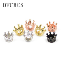 BTFBES 4pcs Crown White zircon Copper beads Pave Crystal metal Loose for Jewelry bracelet Necklace making DIY Accessories