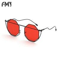 FMY Multi Shades Sunglasses Women Brand Designer Polygon Hexagon Metal Frame Eyewear Hollow Bent Foot Sun