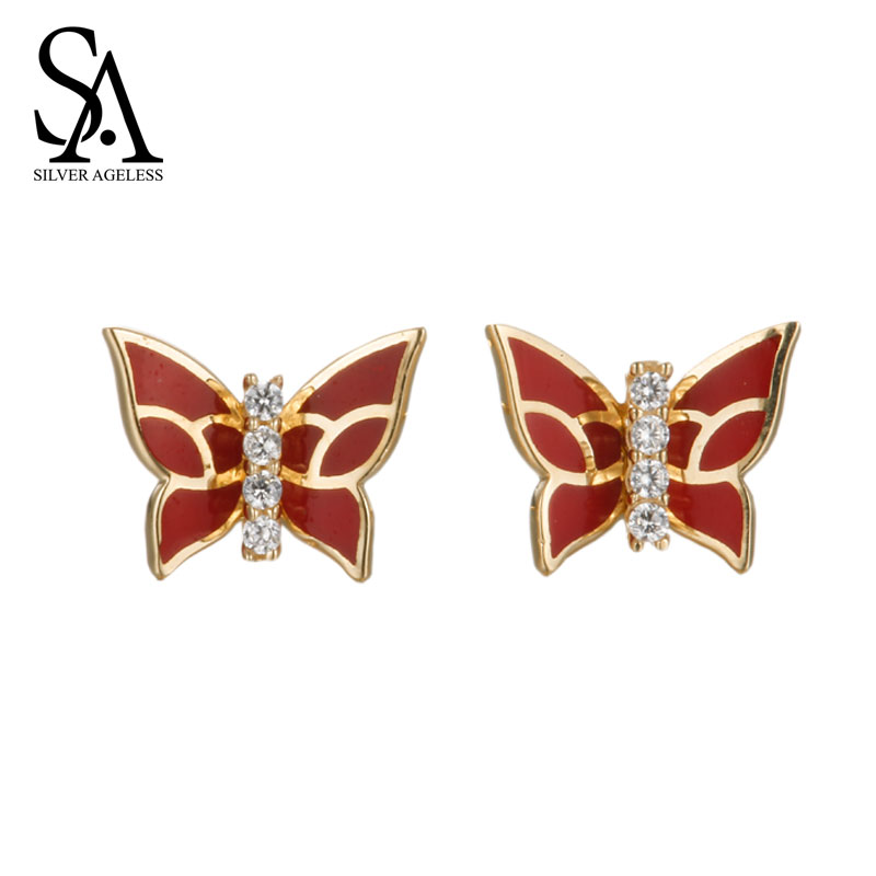 SILVER AGELESS 18K Rose Gold Butterfly Stud Earrings for Women Fine Jewelry 2017 New Arrival yoursfs charms rhinestone rose stud earrings 18k gold plated fashion cz jewelry delicate crystal rose women stud earrings for wom
