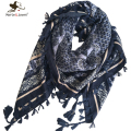 [Marte&Joven] Bohemia Ethnic Style Floral Print Wrap and Shawl for Women 110X110 cm Tassels Square Scarf Ladies Checked Scarf