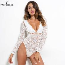 PinkyIsBlack Sexy Bodysuit Women 2019 Autumn V-neck Floral Embroidery Hollow Out Lace Bodysuit Black White Jumpsuit Overalls цены онлайн