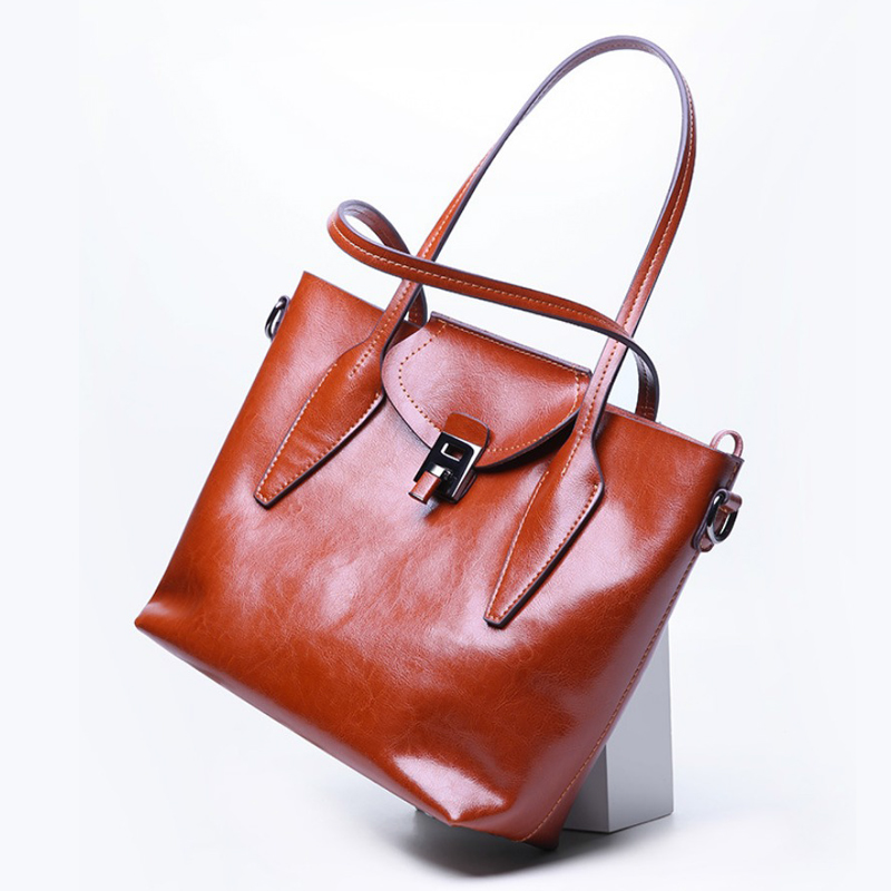 Genuine Leather Women Bags Female Handbags High Quality Oil Wax Leather Shoulder Bags Large Capacity Ladies Casual Tote new women handbags oil wax leather large capacity female shoulder bags solid color practical fashion vintage corssbody bag