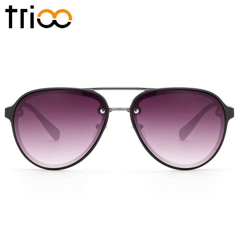 TRIOO Gradient Lens Sunglasses Men Matte Frame font b Pilot b font Cool Brand Designer Shades