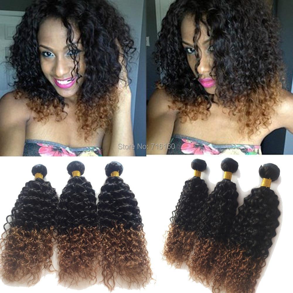 Two Tone 1b30 Brazilian Virgin Hair Curly Weave 6a Brazilian Remy