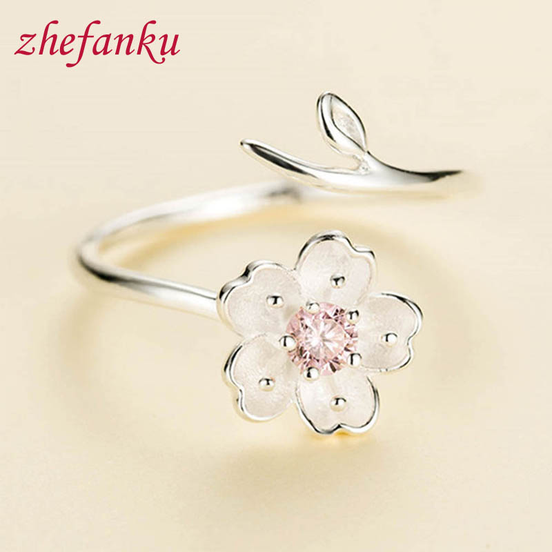 2017 New Fashion Silver Color Poetic Daisy Cherry Blossom Finger Ring For Women Engagement Fashion Jewelry