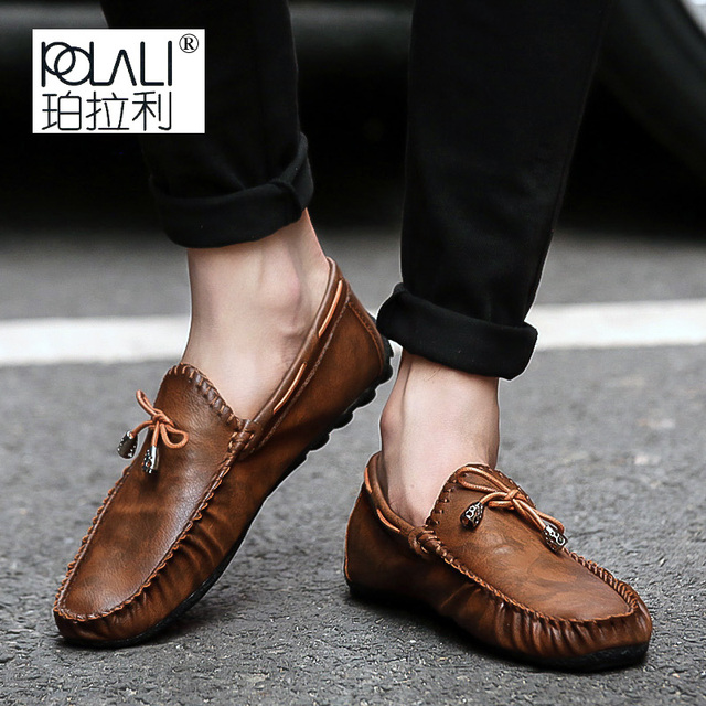 02ab66ae953 US $15.07 43% OFF|POLALI Summer Men's Loafers Italian Moccasins Slip On  Leather Casual Shoes Male Driving Black Flats Sneakers Zapatillas Hombre-in  ...