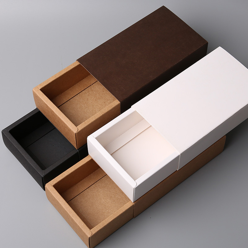 Image 3 - Kraft Paper Drawer Type Craft Gift Box White Black Jewelry  Handmade Soap Packaging Boxes For Wedding Party CandyGift Bags