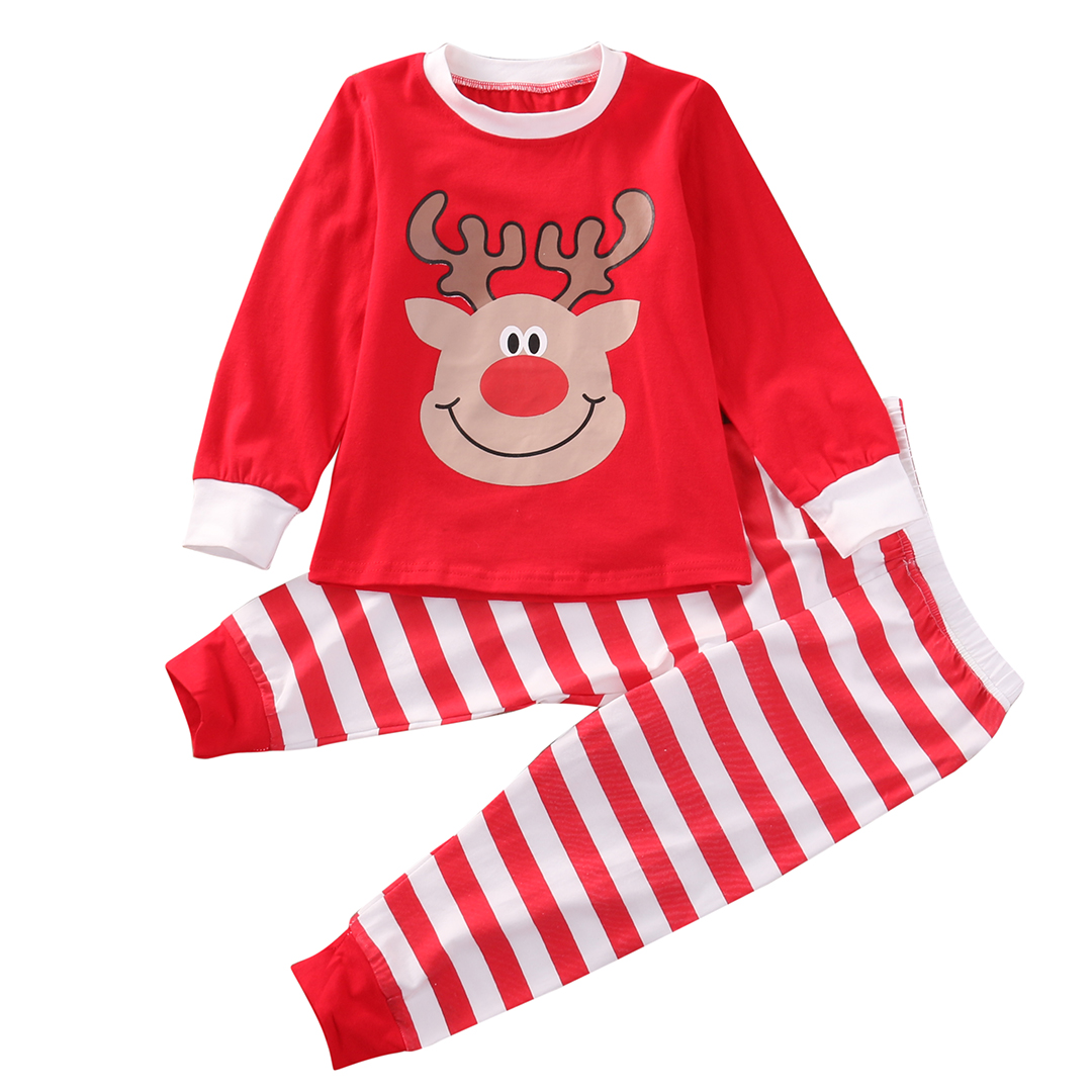 US Toddler Kids Baby Girls Christmas T-shirt Tops Pant 2PCS Clothes Outfit Set